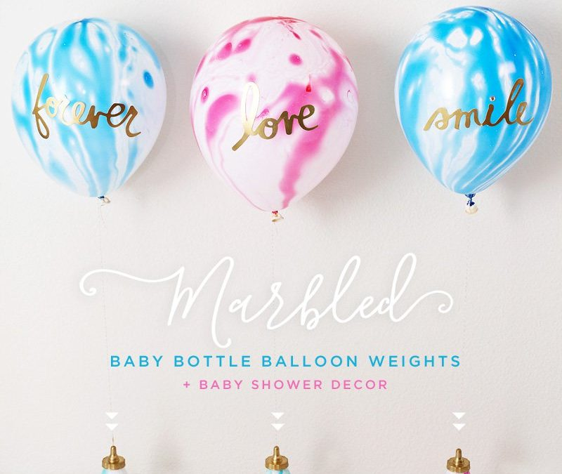 Marbled Baby Shower Balloon Weights + Centerpiece